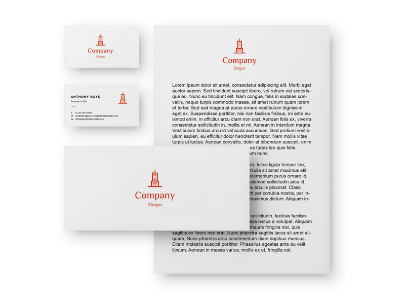 Corporate identity: blank, business card, envelope