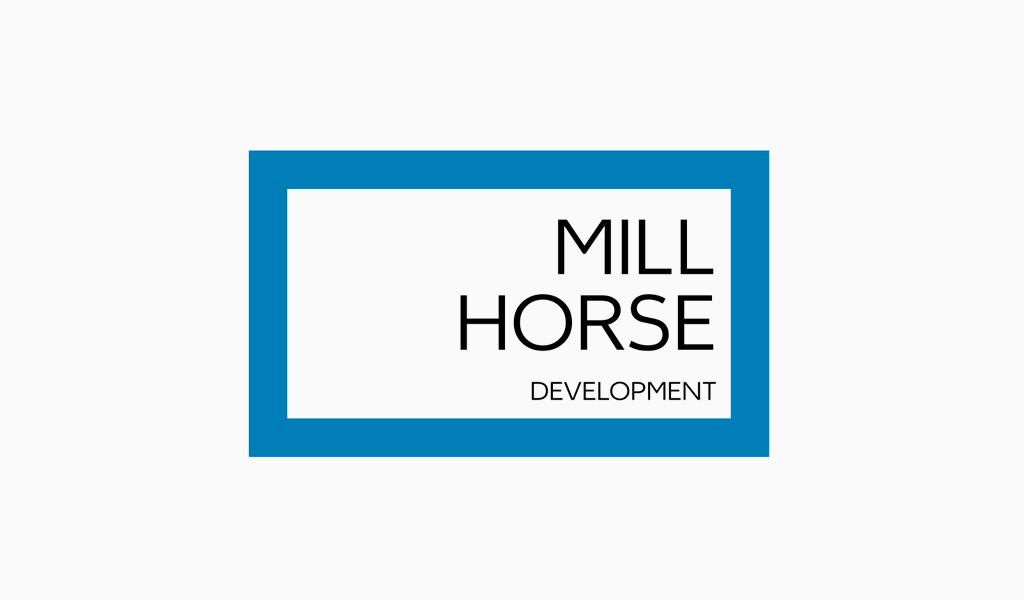 Blaues rechteckiges abstraktes Logo