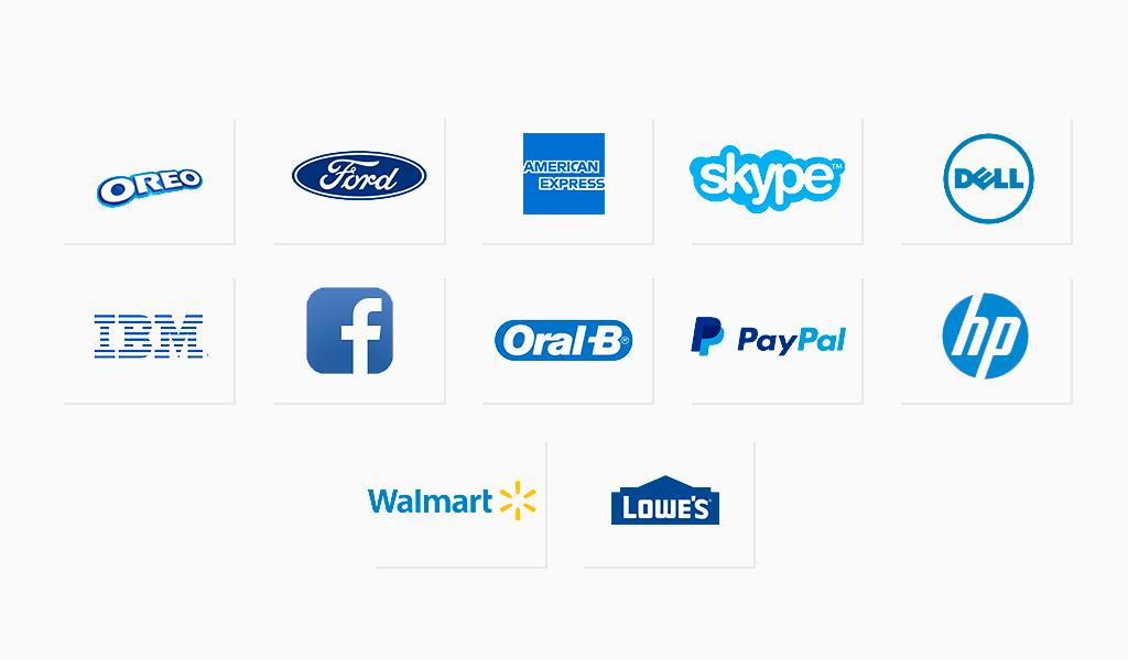 Berühmte Logos in Blau