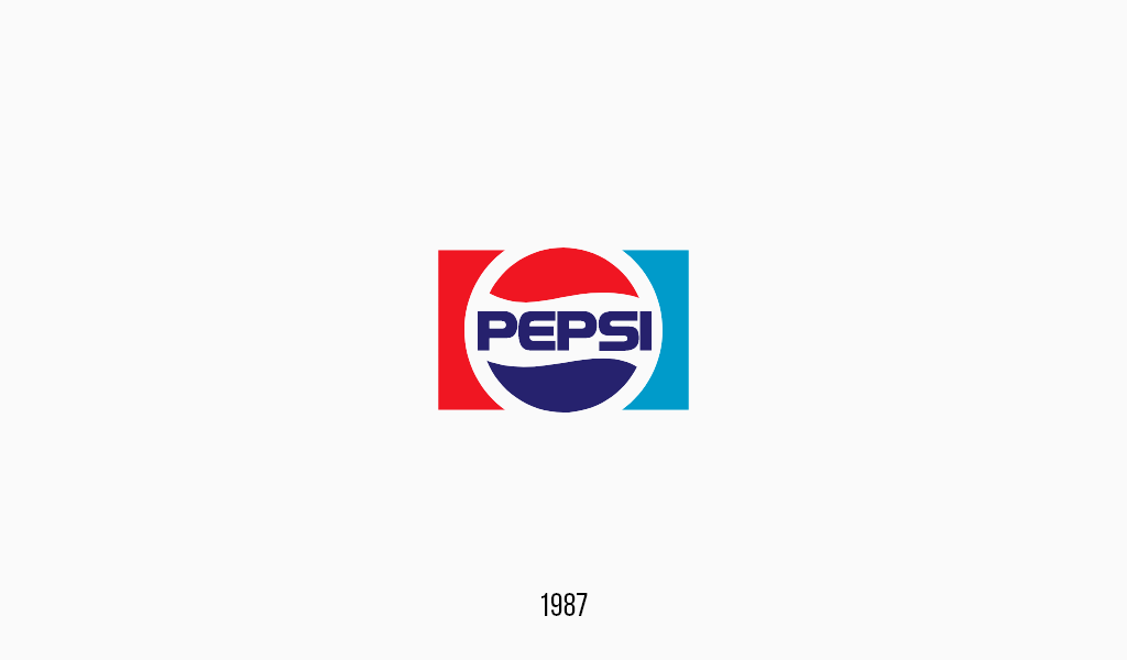 Pepsi cola logo, 1987