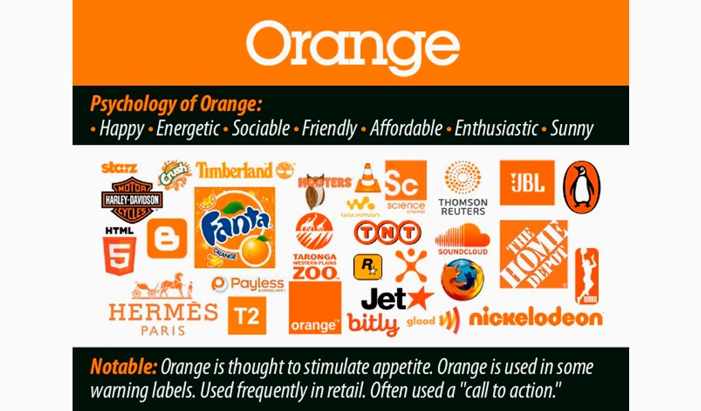 psychology of orange in logos