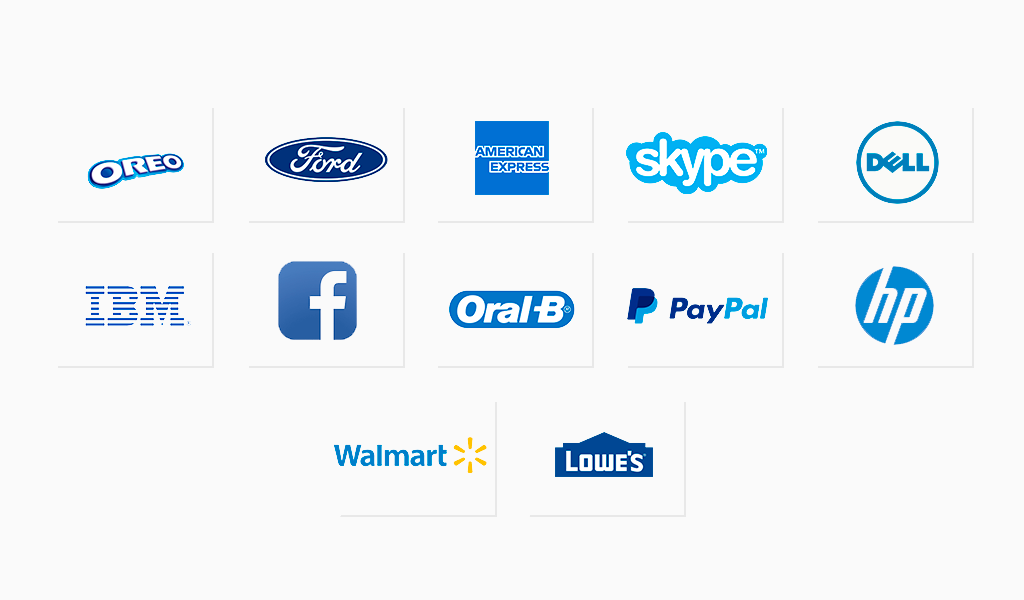 Famous logos in blue