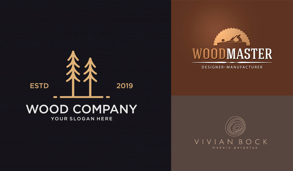 brown color logos: woodsy