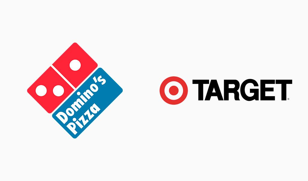 target and dominlos logos