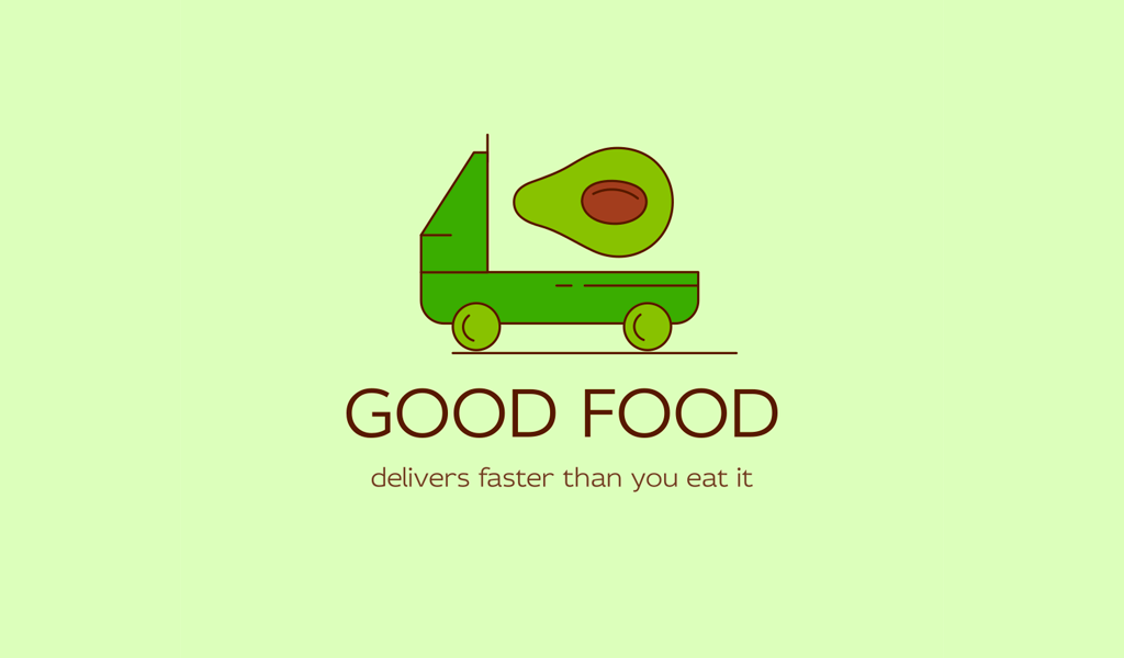 Green truck Avocado organic Logo