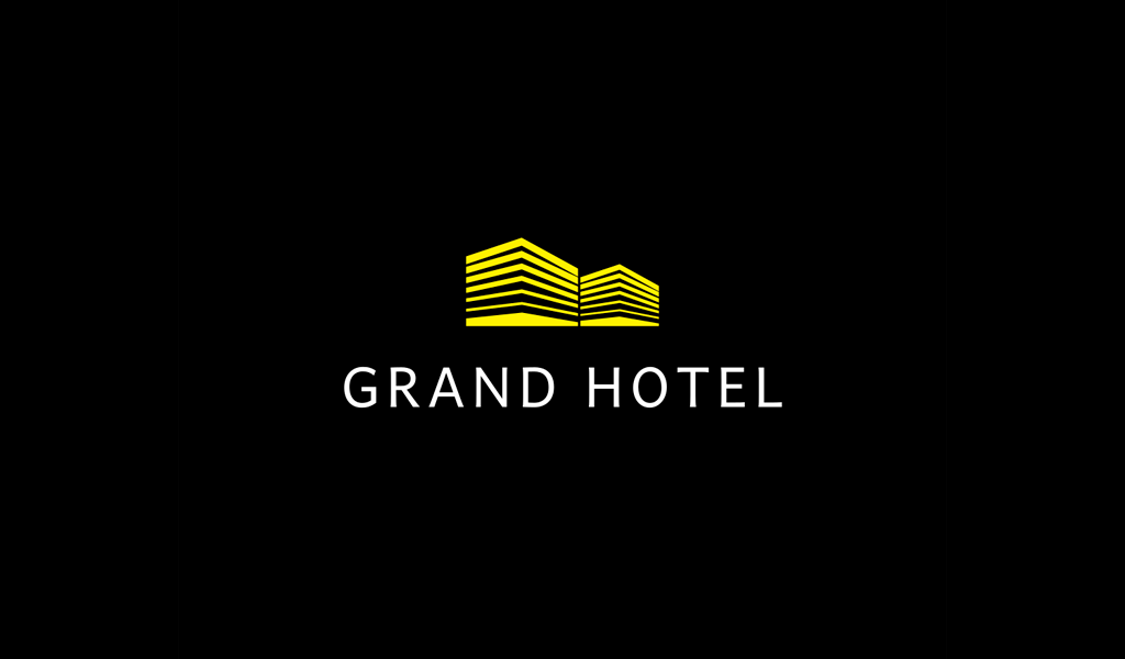 Yellow Hotel horisontal lines Logo