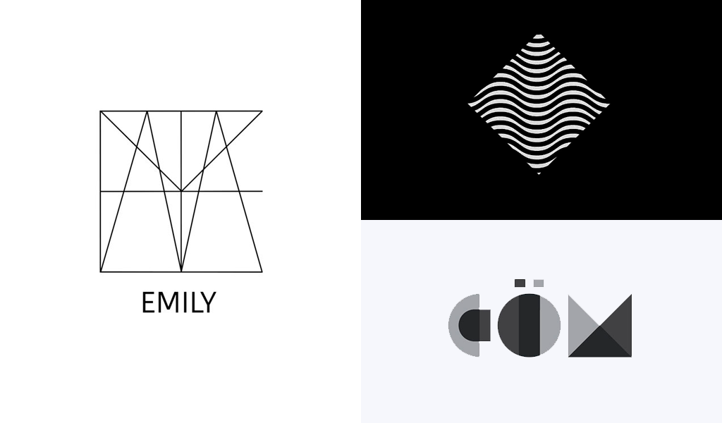 schwarz-weiße geometrische Logos