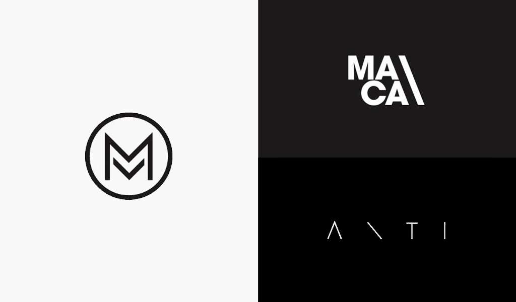 schwarz-weiße minimalistische Logos