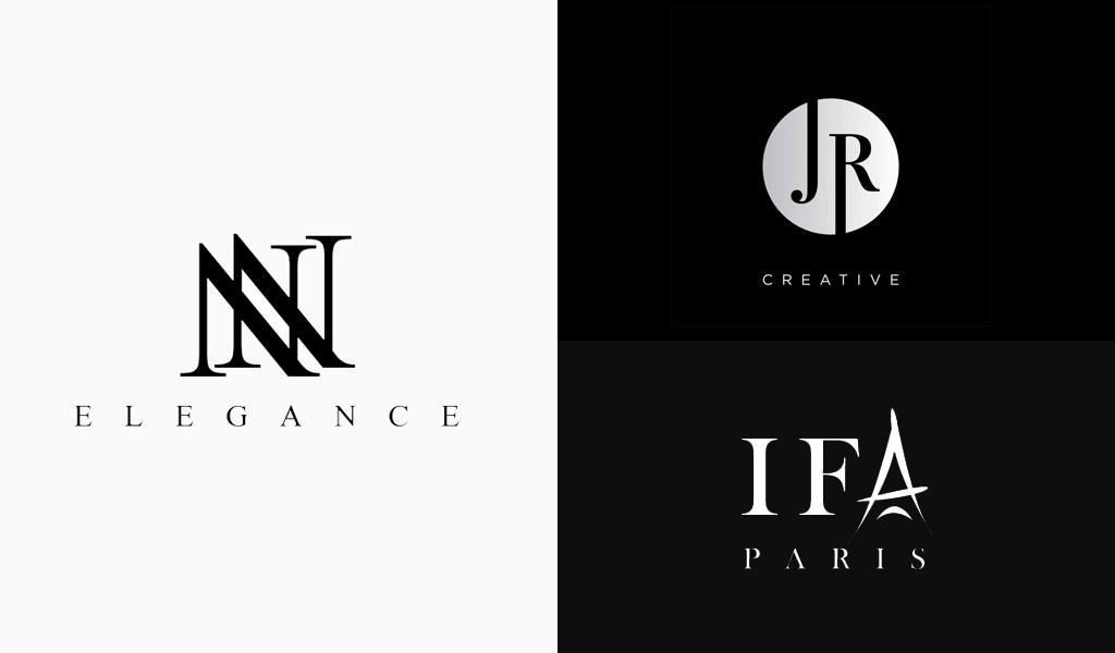 schwarz-weiße Luxus-Logos
