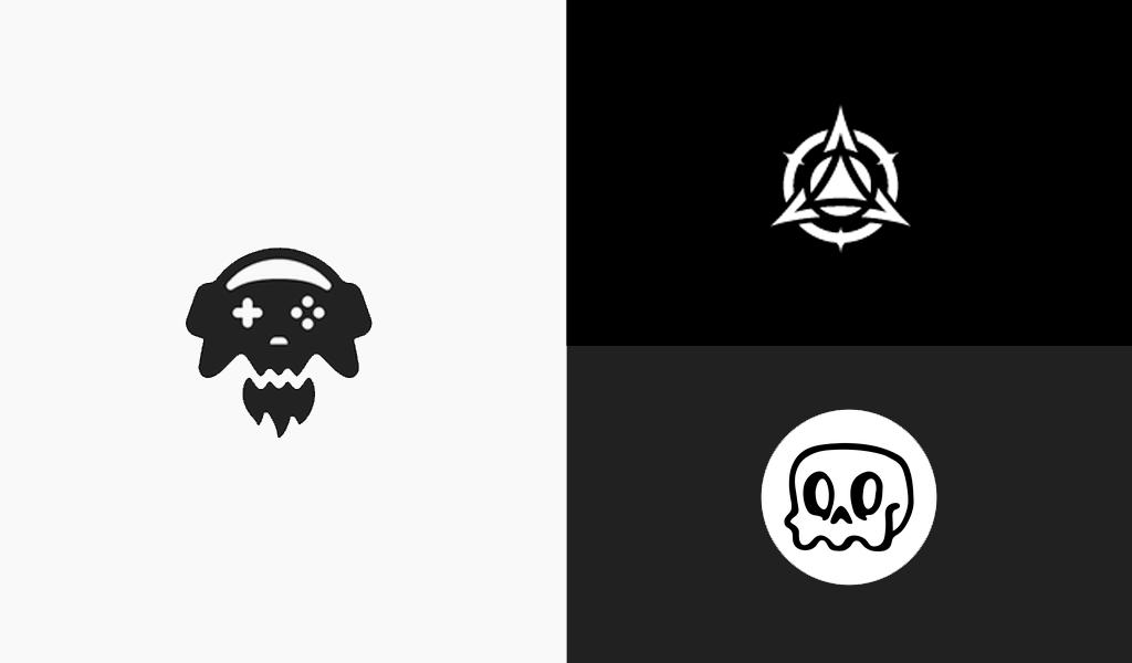 schwarz-weiße verspielte Logos