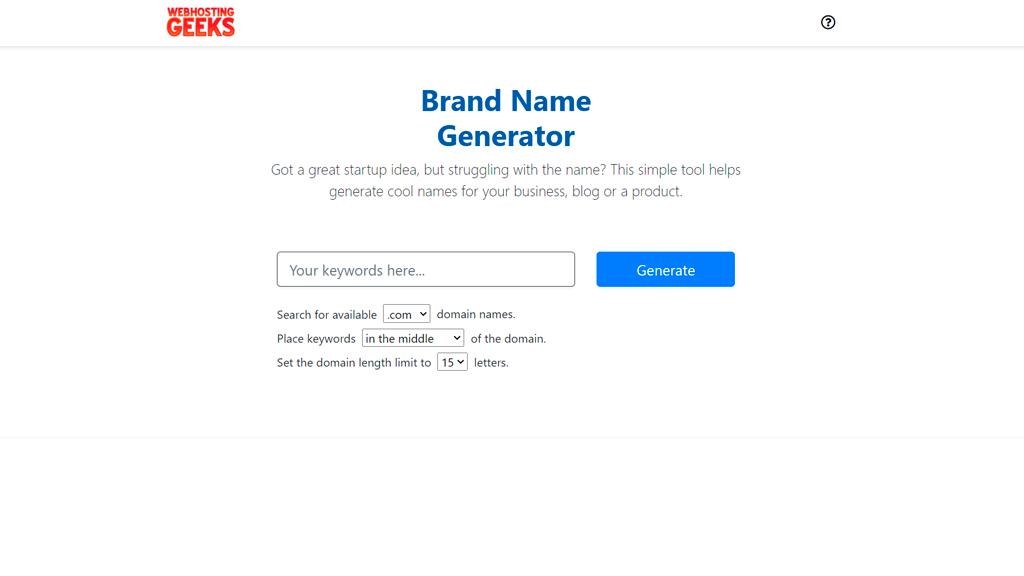 WebHostingGeeks business name generator