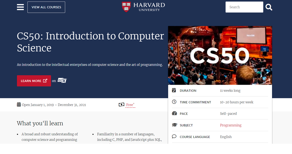Harvard University — CS50's Introduction to Computer Science