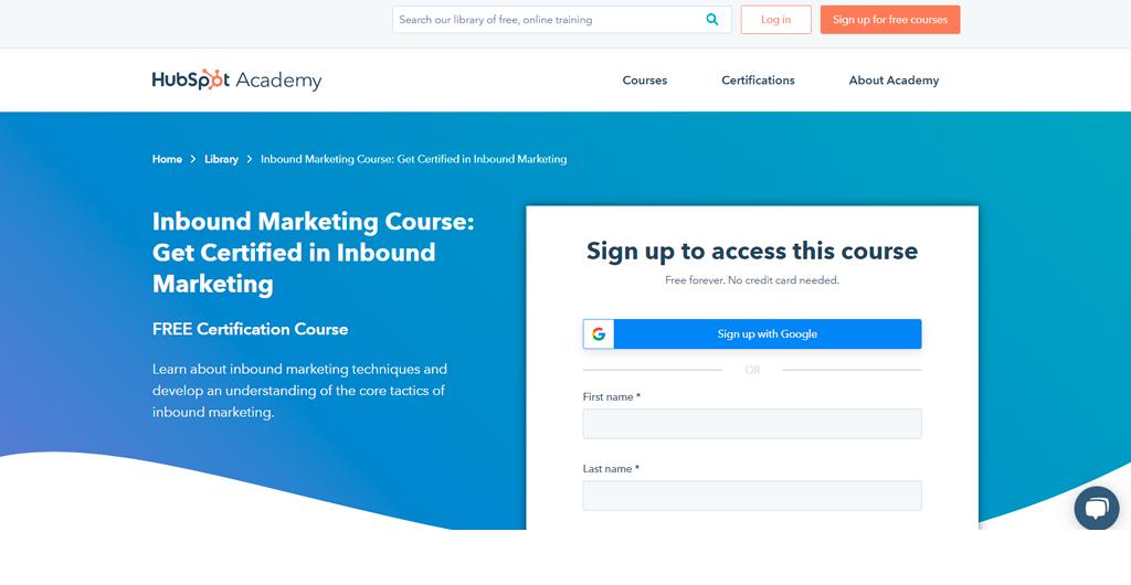 Inbound Marketing Certification by HubSpot Academy
