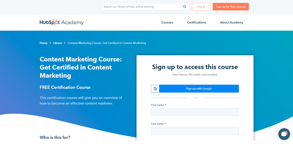 Content Marketing Certification by HubSpot Academy