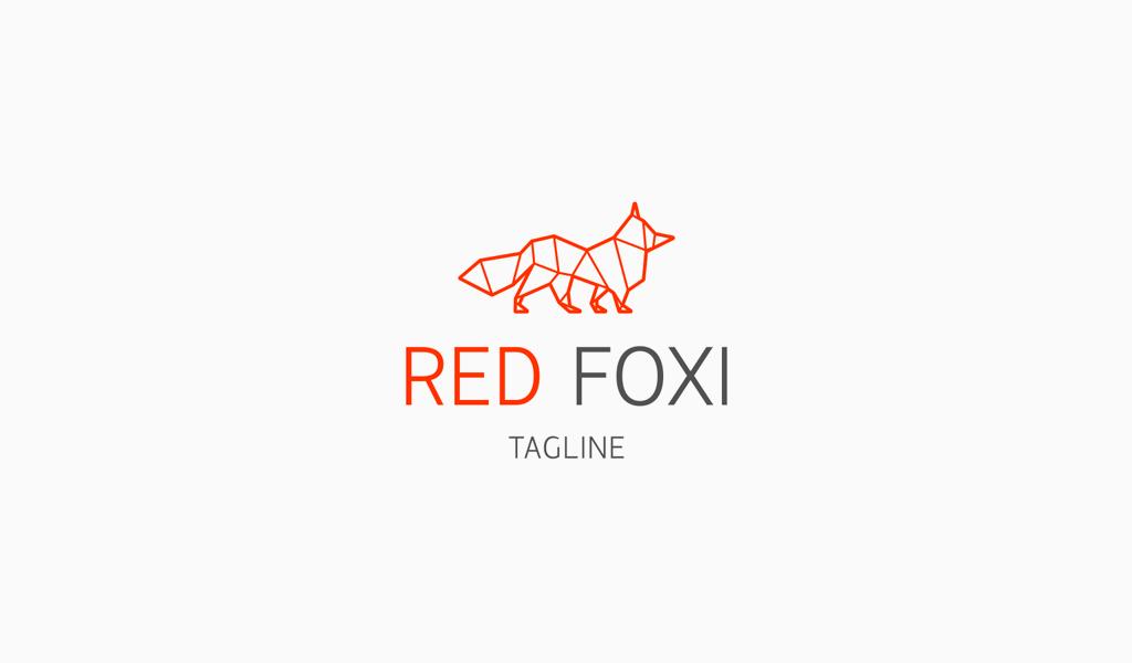 Logotipo geométrico del zorro rojo