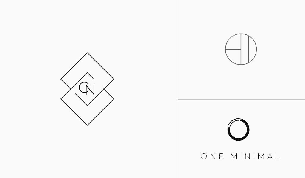 logotipos blancos geométricos