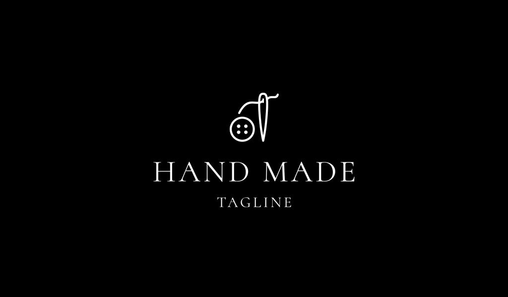 Logotipo del botón de la aguja de coser