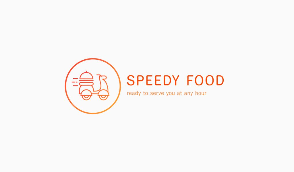 Logotipo de entrega de comida de ciclomotor