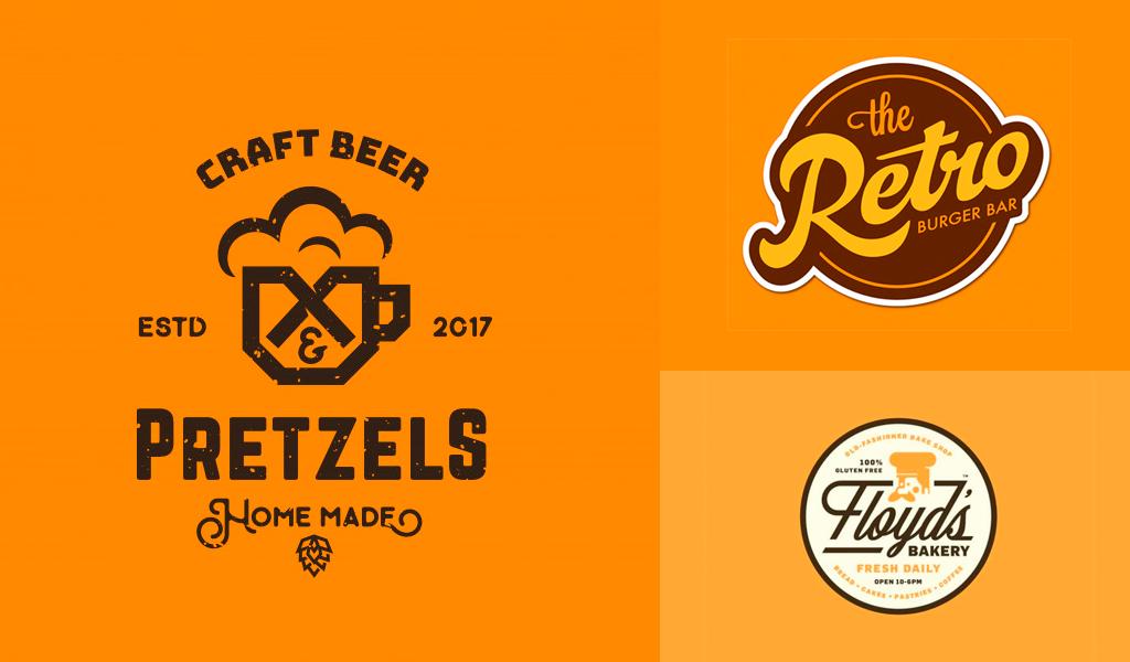 logotipos naranjas vintage