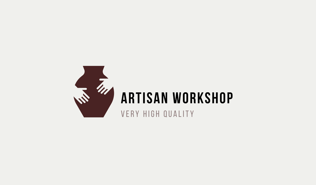 Logotipo de jarrón de manos