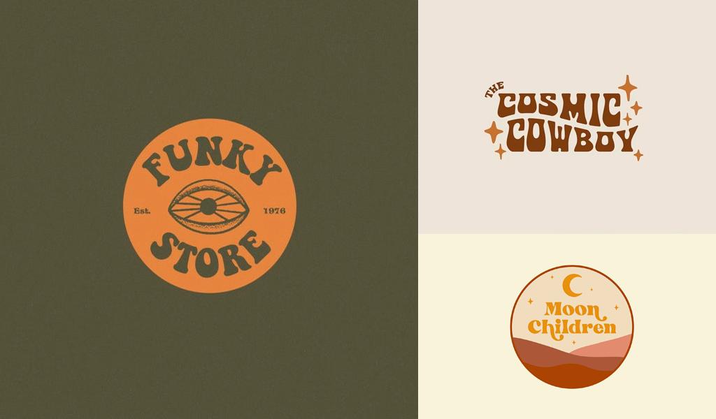 vintage logos marrones