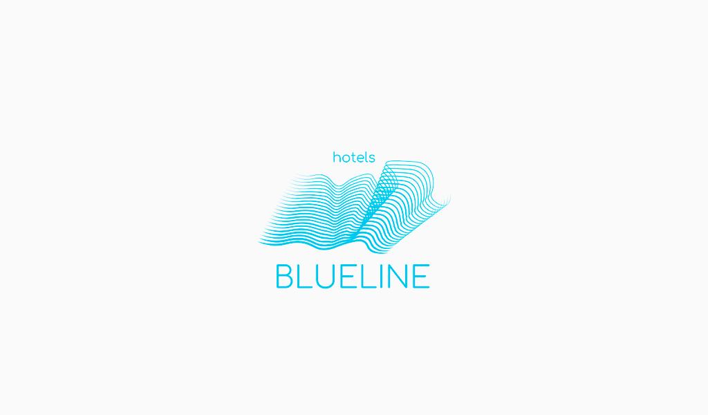 Logo de vague en spirale bleue