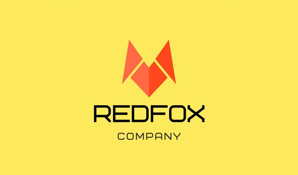Logo abstrait de renard roux