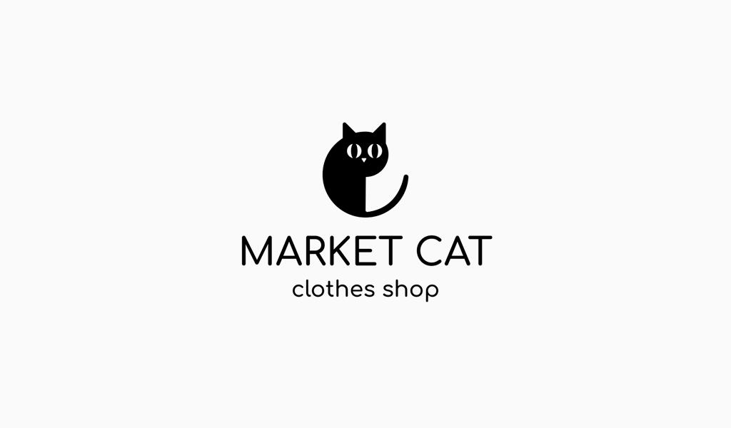 Logo abstrait de chat mignon