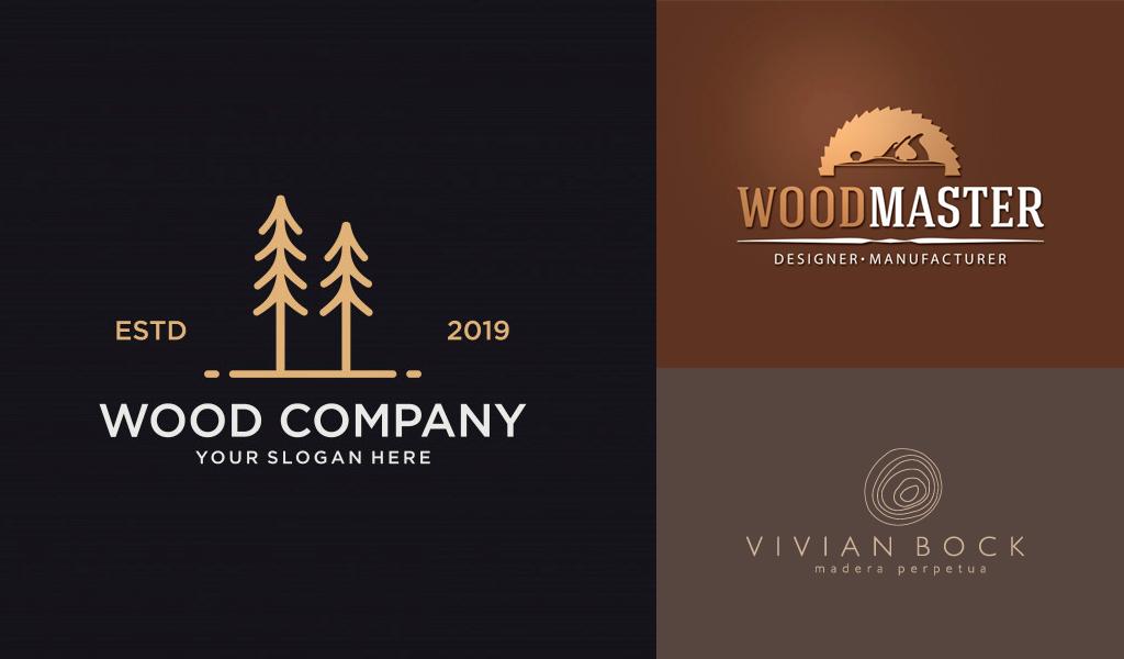 logos de couleur marron: boisé