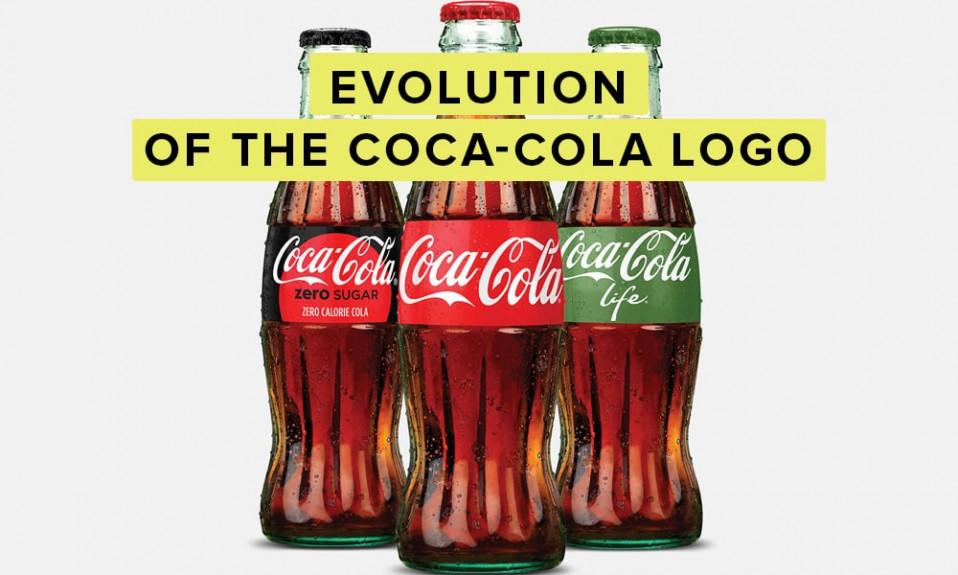 Coca-cola logo history illustration