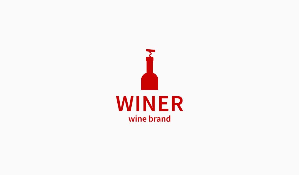 Bottiglia di vino rosso Logo