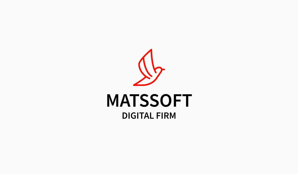 Logo digitale uccello rosso