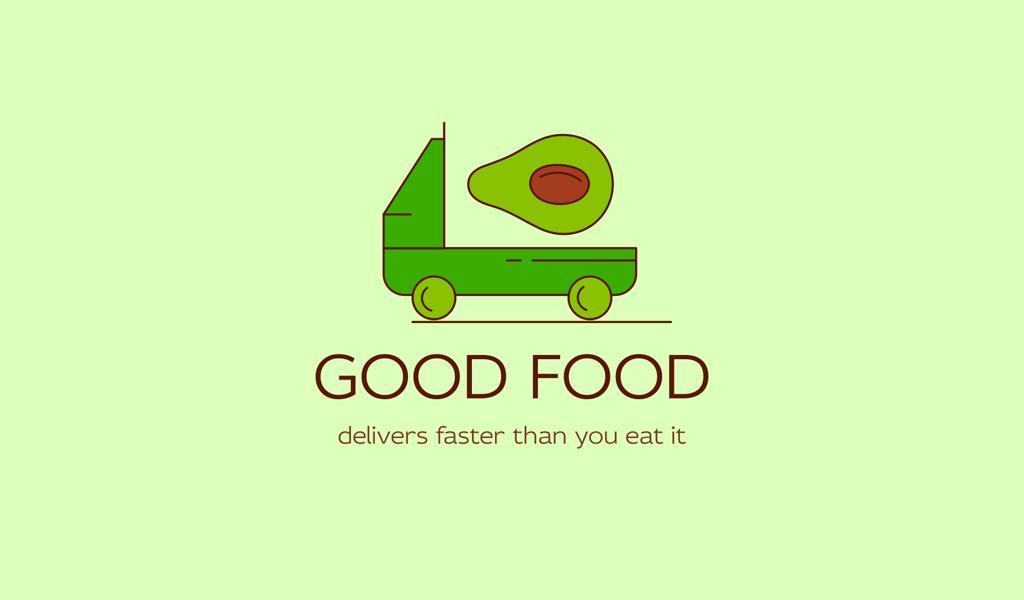 Logo dell'avocado del camion verde