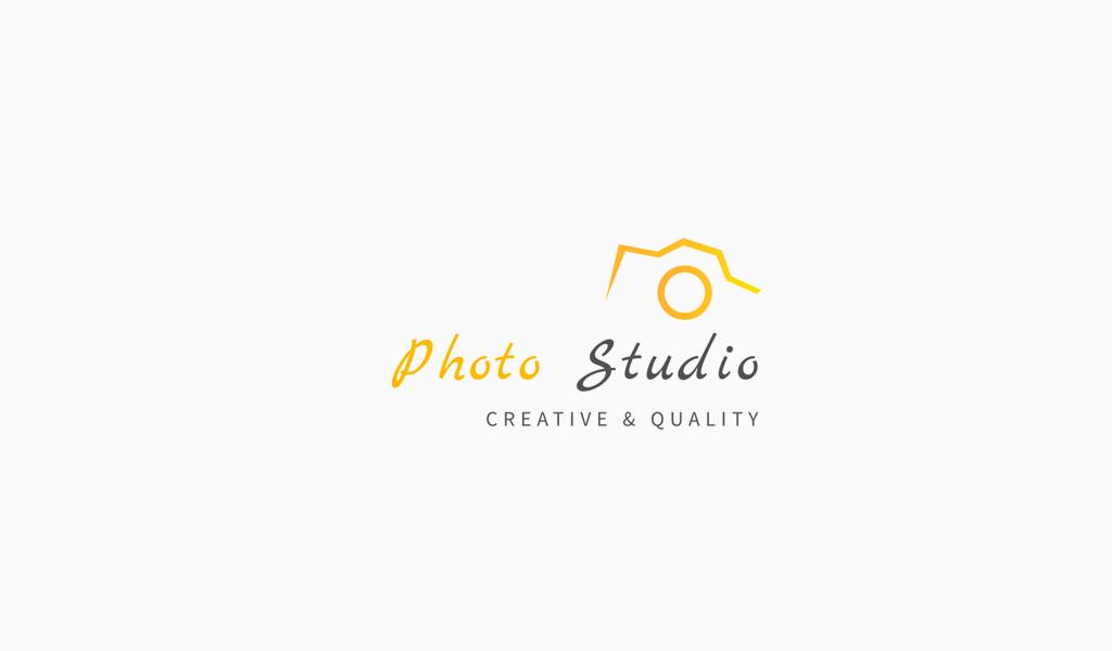 Logotipo amarelo da câmera fotográfica